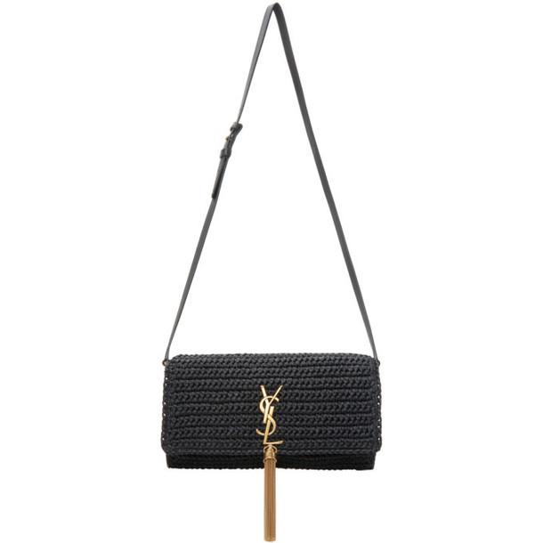 Saint Laurent Black Raffia Kate 99 Tassel Bag