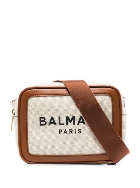 Balmain two-tone logo print belt bag in neutrals