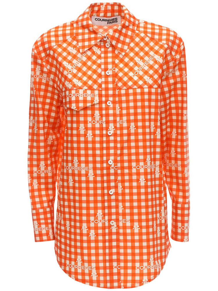 COURREGES Check Cotton Poplin Shirt in orange / white