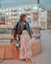 jacket,black leather jacket,maxi skirt,high waisted skirt,layered,sandal heels,transparent  bag,black bodysuit