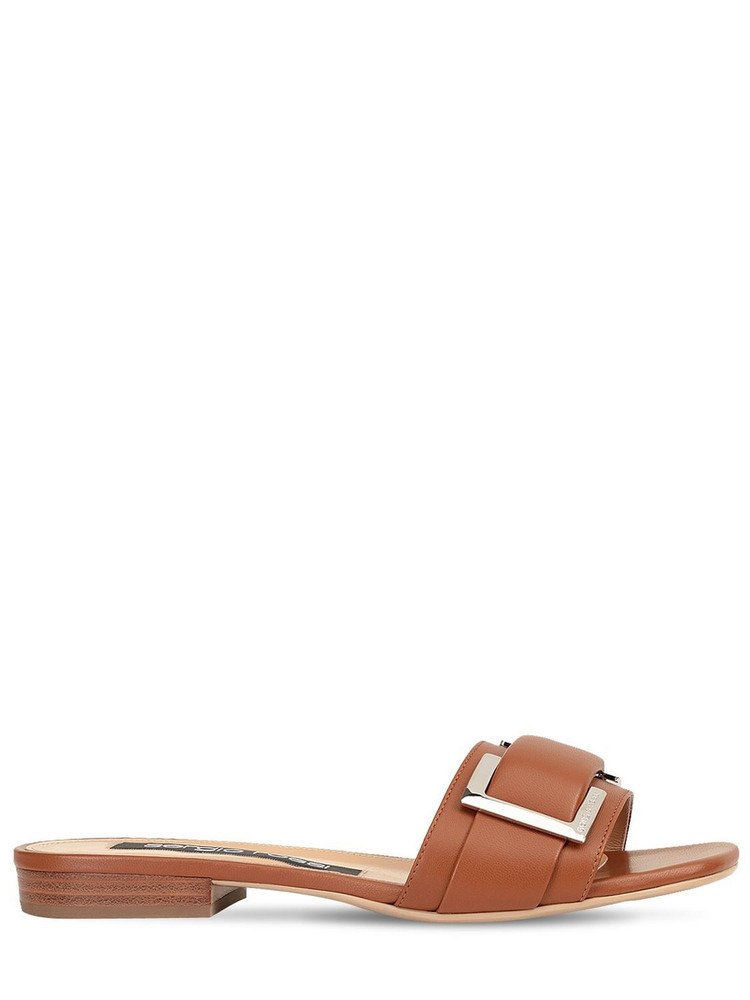 SERGIO ROSSI 15mm Leather Slides in tan