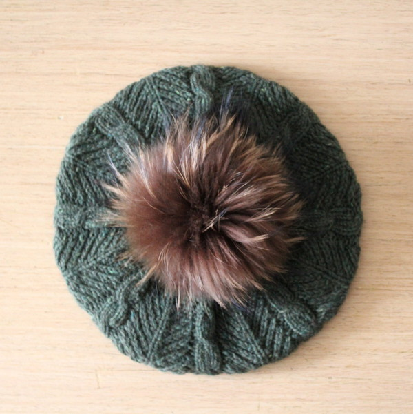 hat beret green hat cashmere beanie cable knit green beanie fur beanie cashmere hat fur pom pom hat