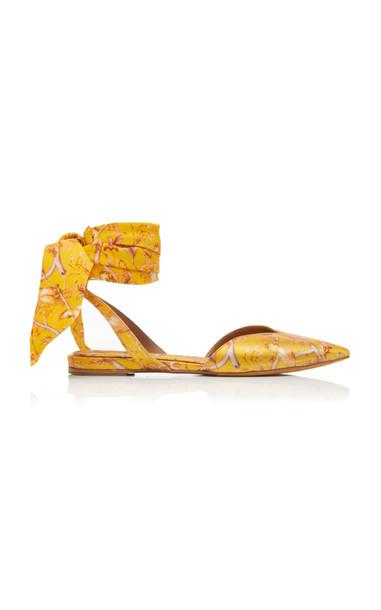 Tabitha Simmons x Johanna Ortiz Vera Printed Silk Satin Flats Size: 3 in yellow