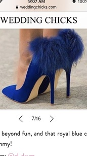 shoes,royal blue,fur heel,pointed toe stiletto