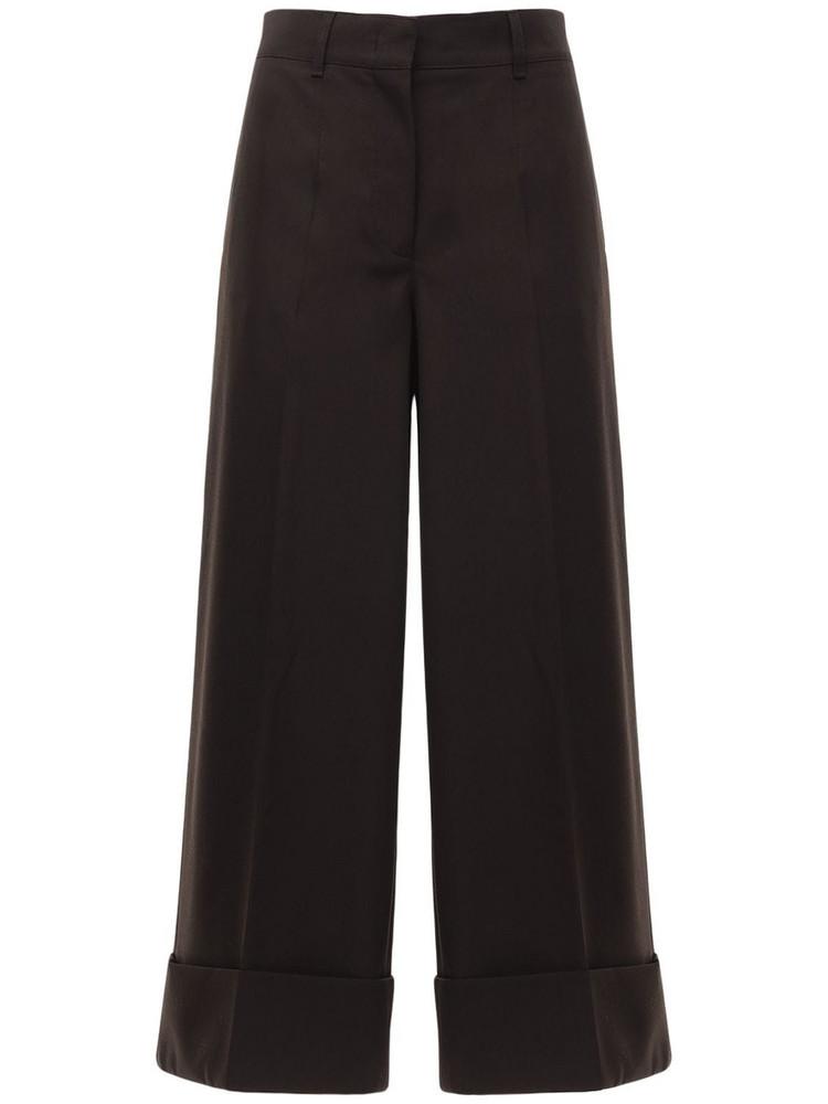 CASASOLA High Waist Wool Wide Leg Pants in brown