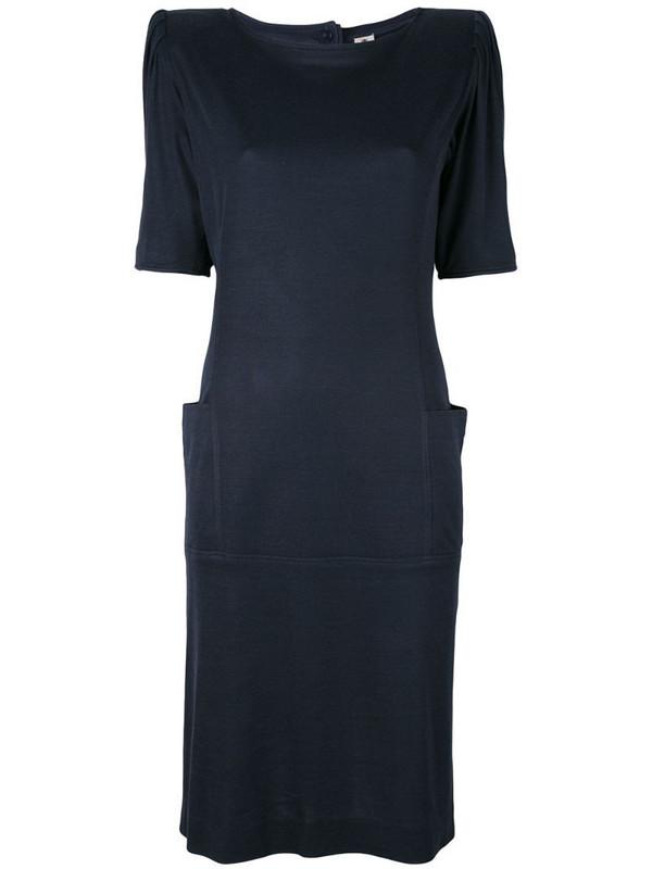 Emanuel Ungaro Pre-Owned padded shoulder dress in blue