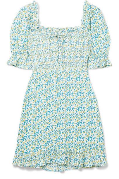 Faithfull The Brand - Donna Shirred Floral-print Crepe Mini Dress - Sky blue