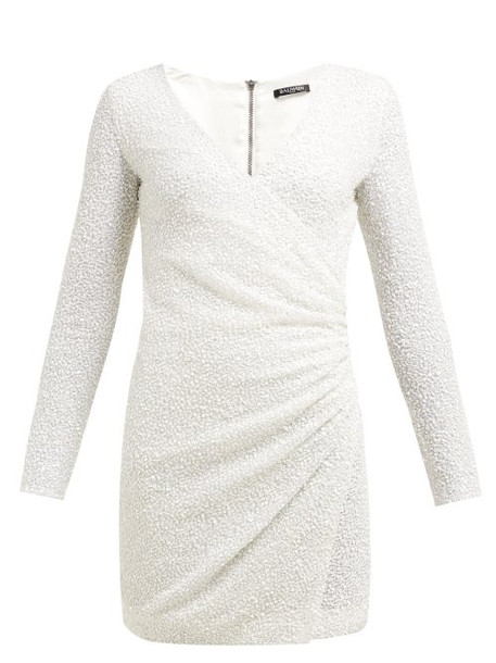Balmain - Sequinned Wrap Front Crepe Mini Dress - Womens - White