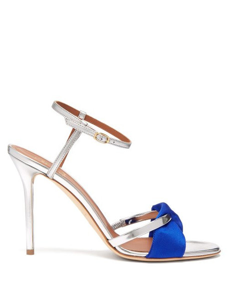 Malone Souliers - Terry Satin And Leather Stiletto Sandals - Womens - Blue Silver