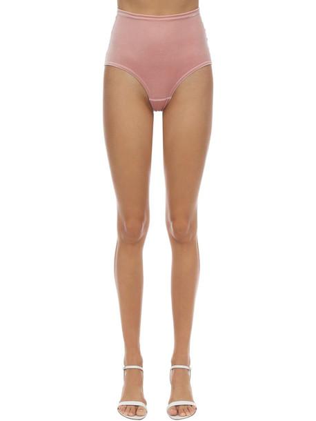 VELVET SOCK'S BY SIMONE WILD High Waist Techno Velvet Briefs in pink
