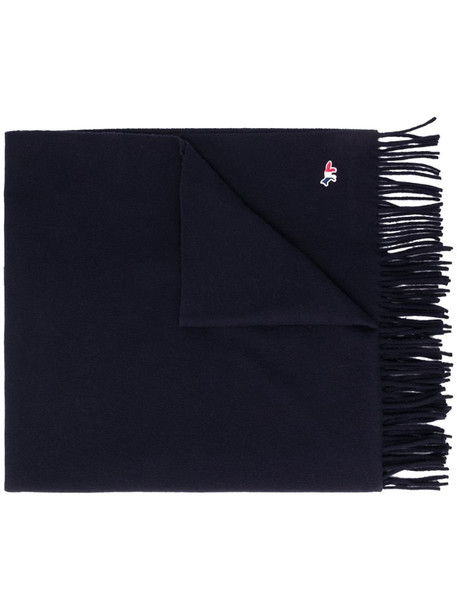 Maison Kitsuné logo-patch fringed scarf in blue