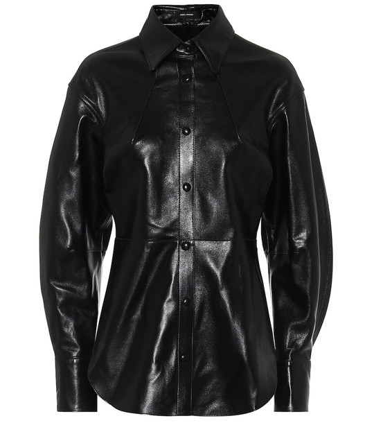 Isabel Marant Xiao leather shirt in black