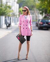 jacket,pink blazer,black leggings,pumps,balenciaga,black bag,white t-shirt