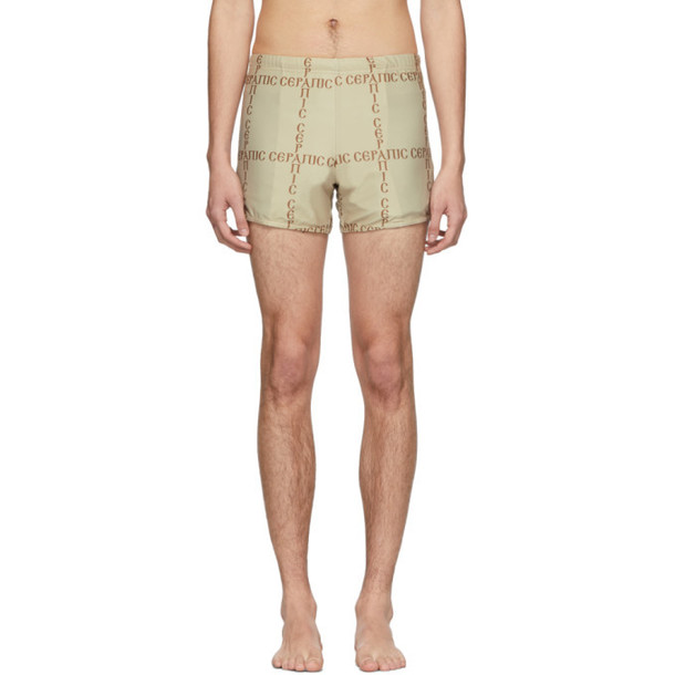 Serapis SSENSE Exclusive Brown Cross Print Swim Shorts