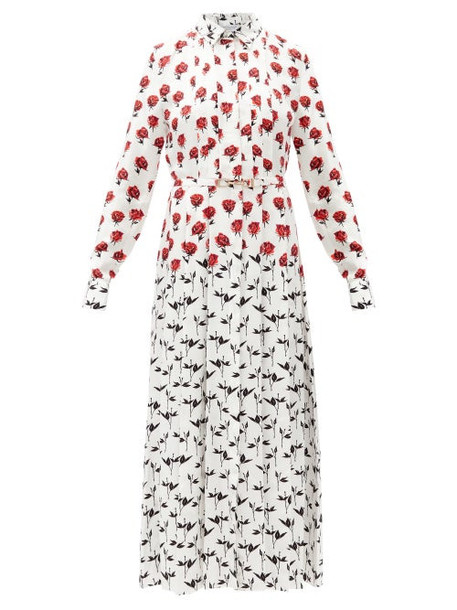 Gabriela Hearst - Claudia Floral-print Silk-twill Midi Shirt Dress - Womens - Red White
