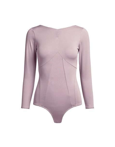 Alexa Chung Long Sleeve Open Back Bodysuit Light Lilac