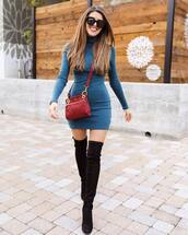 dress,turtleneck dress,over the knee boots,black boots,crossbody bag,sunglasses,bodycon dress