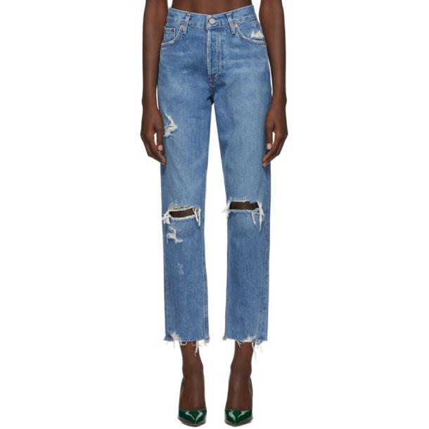 Agolde Blue Organic Jamie Hi Rise Classic Jeans