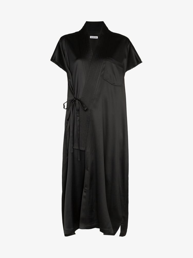 Balenciaga judo wrap midi dress in black