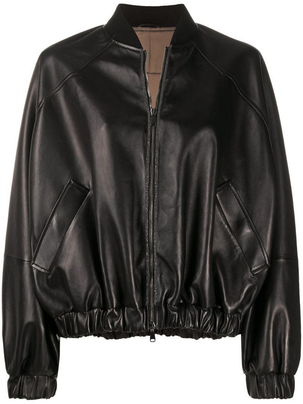 Brunello Cucinelli gathered bomber jacket in black