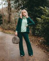 pants,flare pants,blazer,pumps,handbag,leopard print,pretty little thing,turtleneck sweater,green sweater