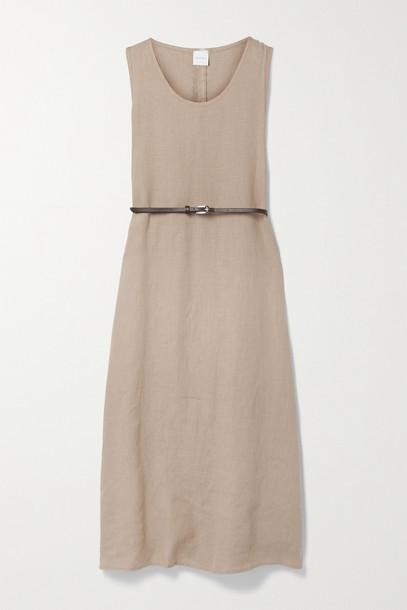 MAX MARA - + Leisure Nettuno Belted Linen Midi Dress - Neutrals