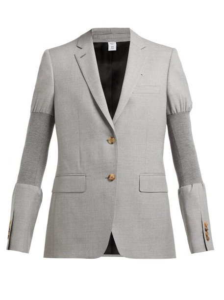Burberry - Single Breasted Ribbed Panel Wool Blazer - Womens - Grey