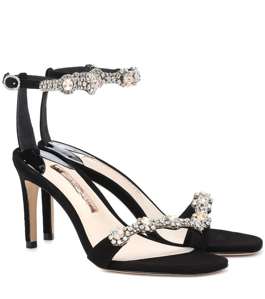 Sophia Webster Aaliyah embellished suede sandals in black