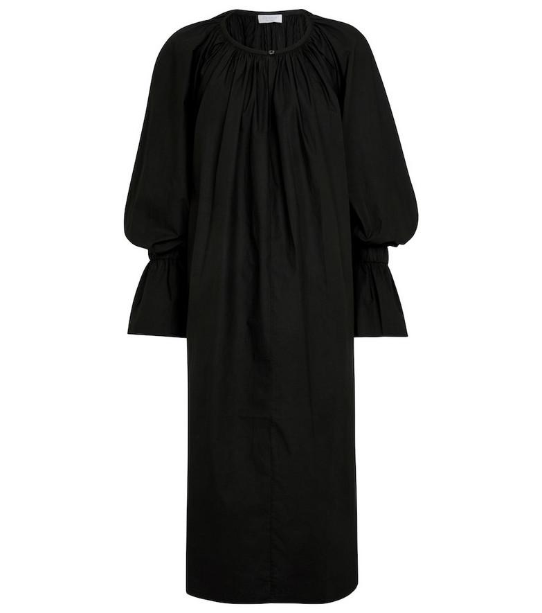 Deveaux New York Aurora oversized cotton midi dress in black