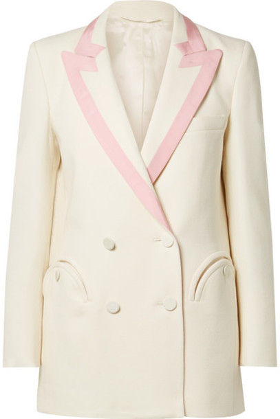Blazé Milano - Everyday Double-breasted Silk-trimmed Wool-crepe Blazer - Ivory