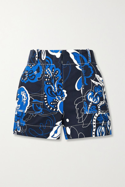 By Malene Birger - Gaugler Floral-print Cotton-blend Twill Shorts - Blue