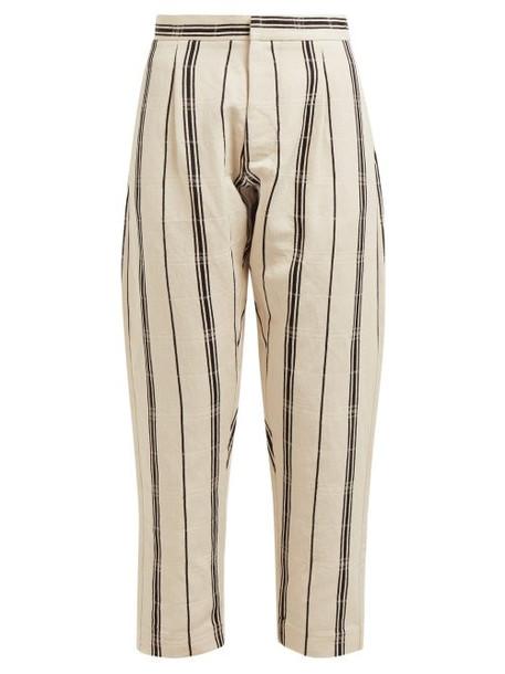 Albus Lumen - Safi Striped Cotton Blend Trousers - Womens - Black