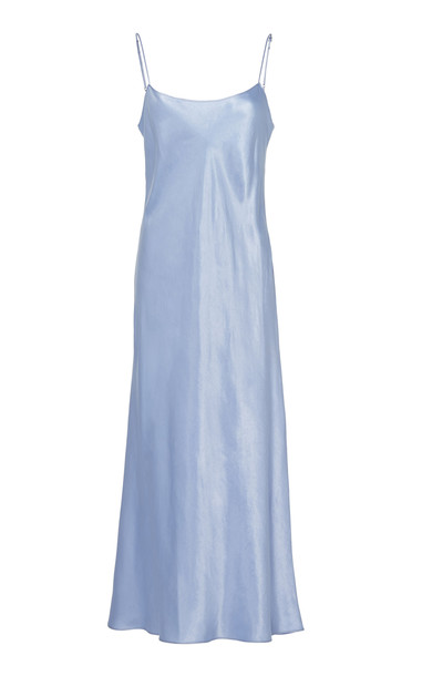 Vince Satin Midi Dress in blue
