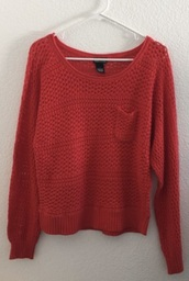 sweater,orange,mesh,knit,net,wet seal,large,black,pockets,loose,crochet,coral,long sleeves