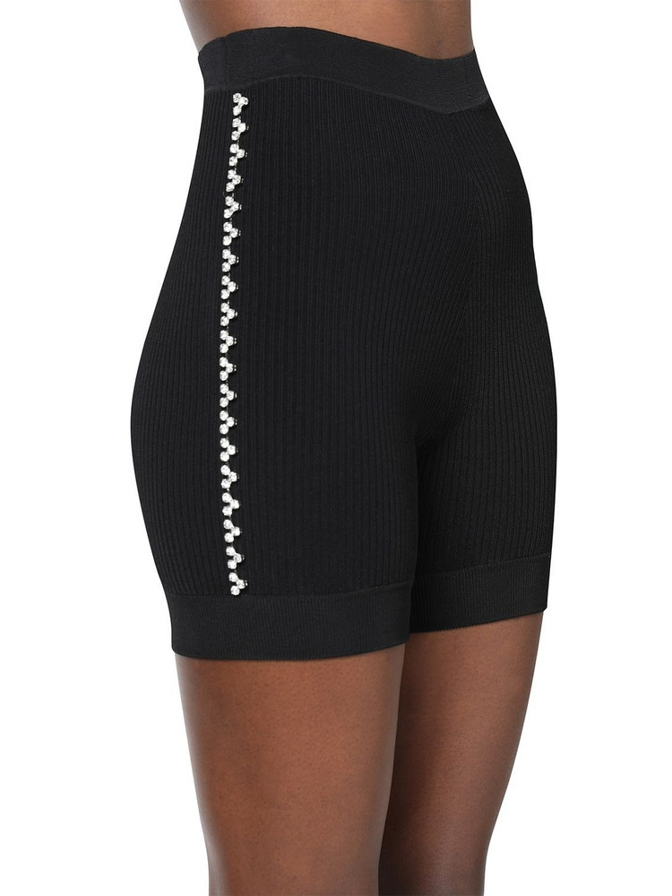 AREA Embellished Rib Knit Cycling Shorts in black
