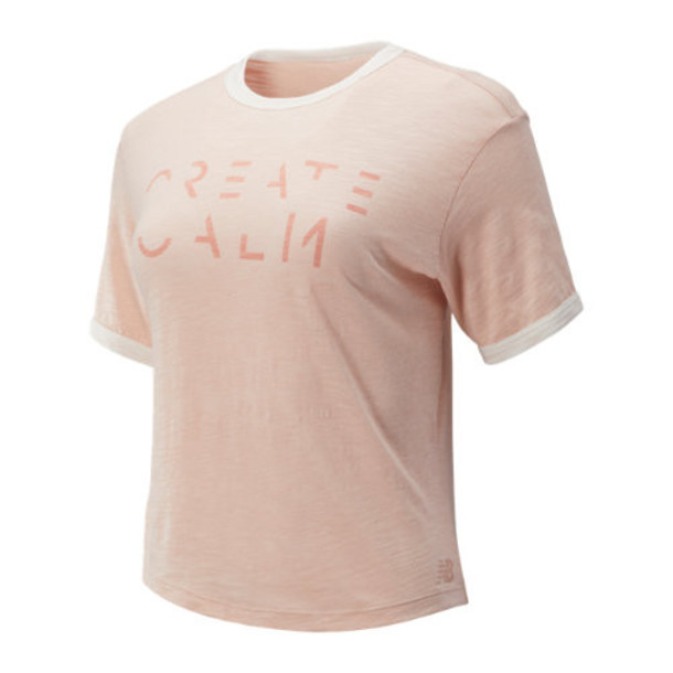 New Balance 93480 Women's Evolve Cropped Tee - Pink (WT93480WOH)