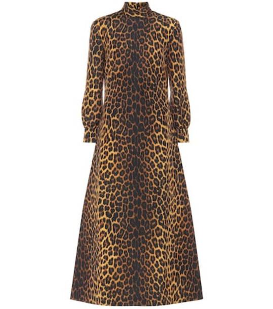 Gucci Leopard-print wool-blend dress in brown