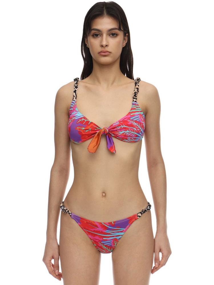 REINA OLGA Luca Printed Lycra Bikini in fuchsia / multi