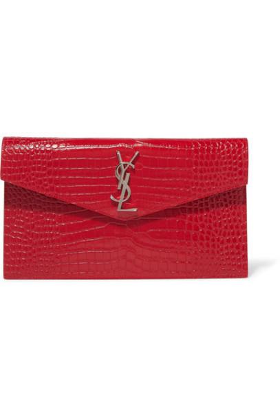 SAINT LAURENT - Uptown Croc-effect Leather Clutch - Red