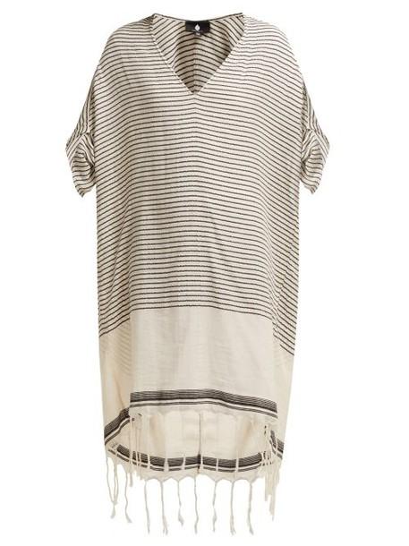 Su Paris - Tipam V Neck Cotton Kaftan - Womens - Grey Stripe