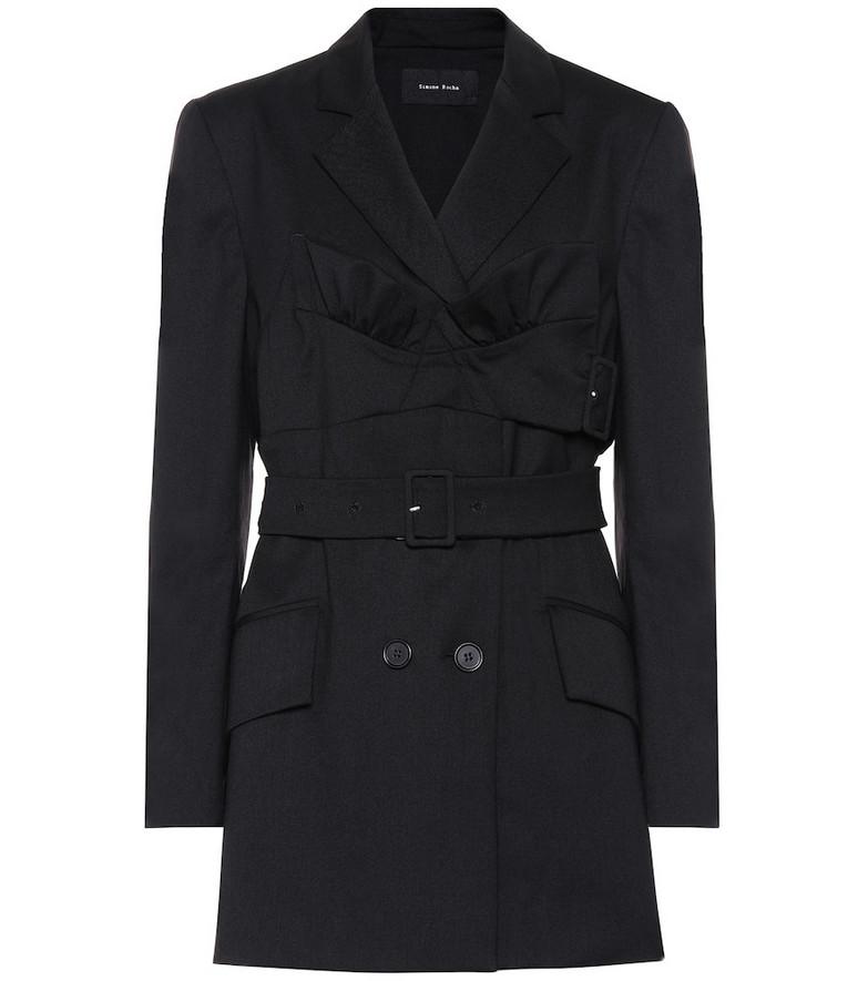 Simone Rocha Belted stretch-wool jacket in black