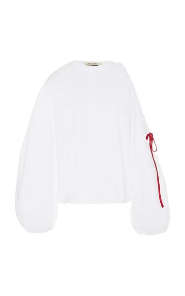 Hellessy Nelda Open-Shoulder Oxford Cotton Top in white