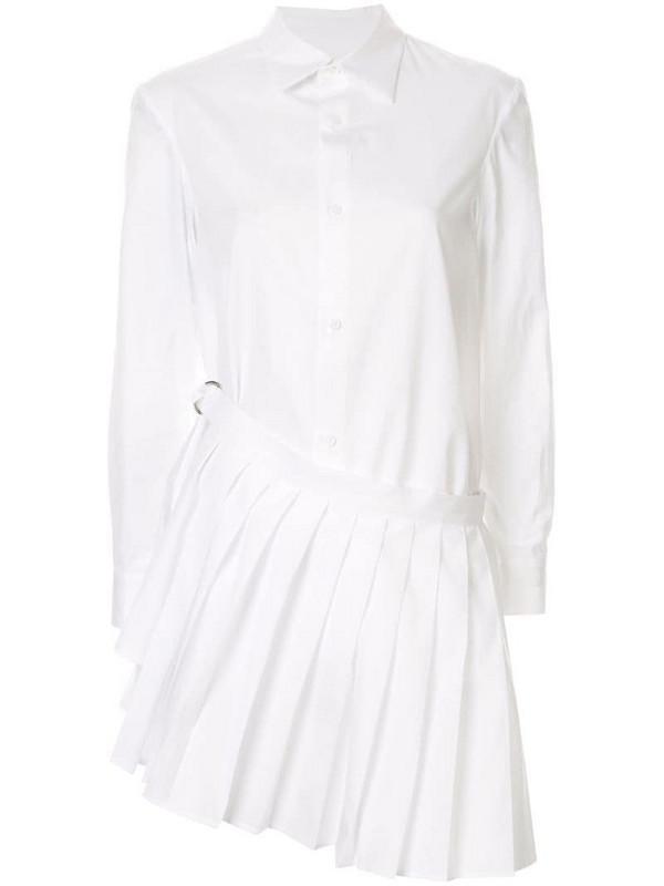 Yohji Yamamoto pleated detail button-up shirt in white
