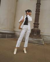 pants,white pants,straight pants,white jacket,ankle boots,white boots,brown bag,black turtleneck top