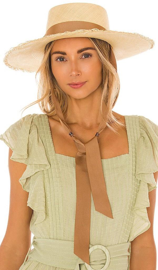 SENSI STUDIO Long Brim Boater Hat in Tan in beige