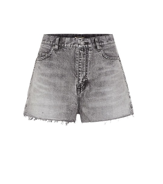 Saint Laurent Denim mini shorts in grey
