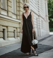 dress,black dress,maxi dress,asymmetrical dress,bag,flat sandals