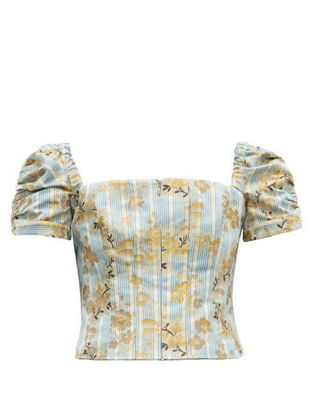Brock Collection - Platano Floral Cotton Blend Jacquard Cropped Top - Womens - Blue Multi