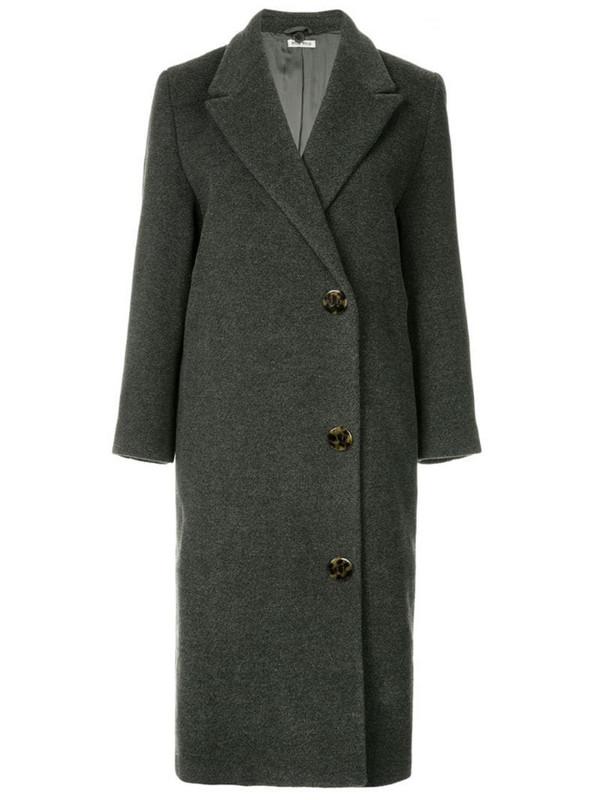 Miu Miu Pre-Owned double breasted midi coat in grey