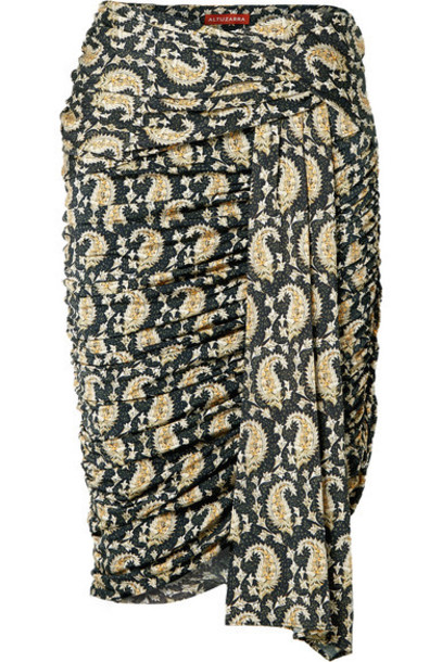 Altuzarra - Ruched Draped Paisley-print Stretch-jersey Skirt - Black
